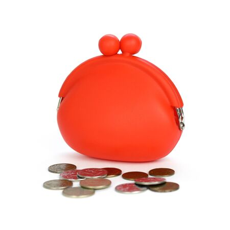 A small red purse with scattered coins. Close up. Isolated on white background.