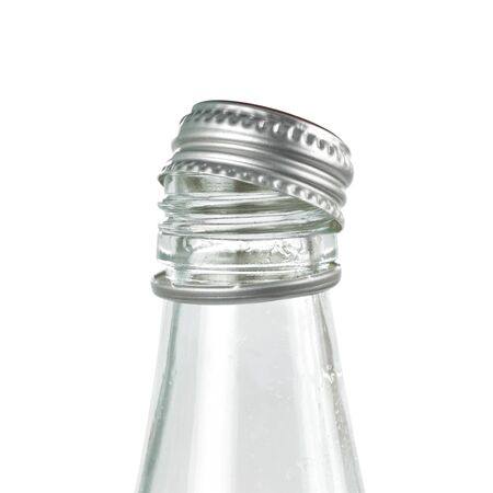 Glass bottle with metal lid. Close up. Isolated on white background.