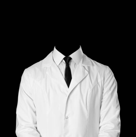 Doctor. A man in a white coat, white shirt and black tie. Without a face. Isolated on black background. Stockfoto