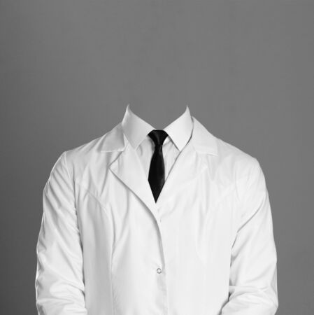 Doctor. A man in a white coat, white shirt and black tie. Without a face.