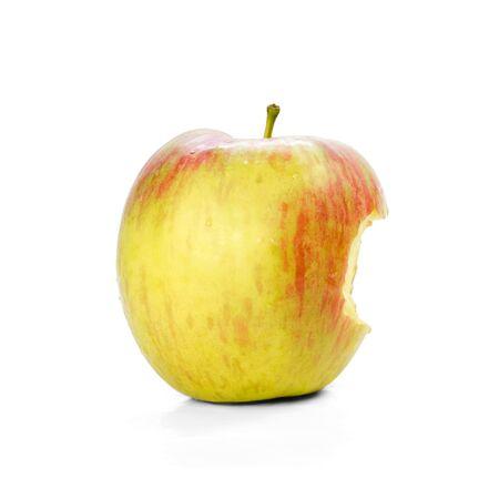 Bitten yellow-red apple.