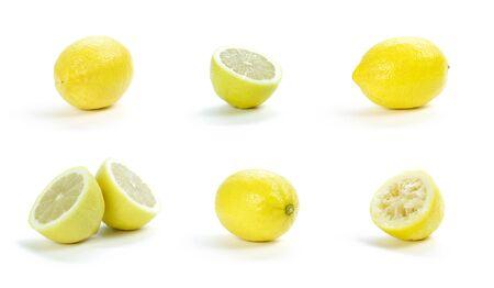 Set of lemon. Whole, sliced and squeezed yellow lemon. Close up. Isolated on white background.