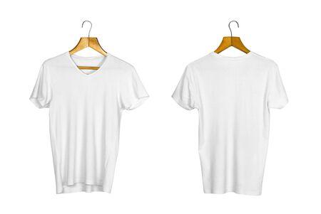 A white t-shirt hangs on a wooden hanger.