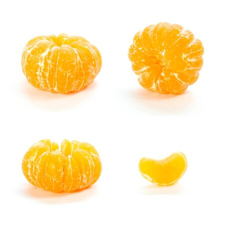 A set of peeled tangerines. Close up. Isolated on white background.