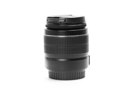 Black lens for SLR camera. Close up. Isolated on white background. Stock fotó - 134180782