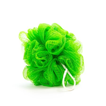 Green washcloth for washing in the shower. Close up. Isolated on white background. Stock fotó