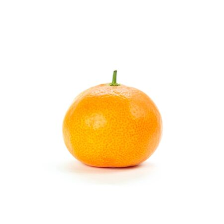 Tangerine without green leaves. Close up. Isolated on white background.