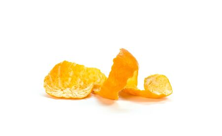 The peel from tangerine. Close up. Isolated on white background.