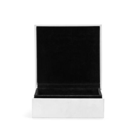 White and black box for jewelry. Close up. Isolated on white background.