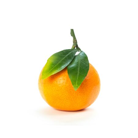 Tangerine with green leaves. Close up. Isolated on white background. Stock fotó