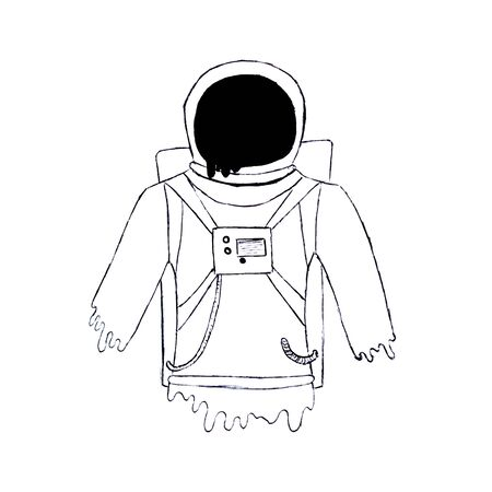 Silhouette of an astronaut. Drawn with a black pen. Isolated on white background.