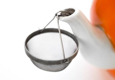 Sieve on the spout of the kettle. Close up. Isolated on white background. Stock fotó