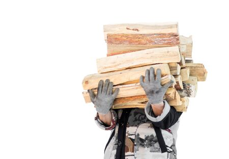 A man carries an armful of firewood. Close up. Isolated on a white background.