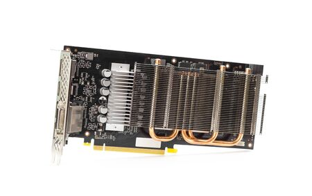 A powerful graphics card for a desktop computer with a passive cooling system. Close up. Isolated on a white background.