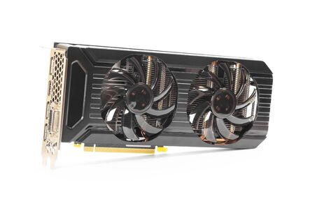 Powerful video card with two fans. Close up. Isolated on a white background.