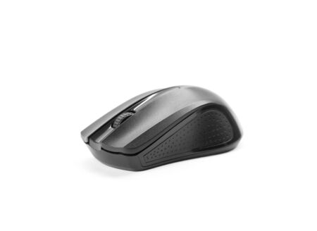 A small wireless black computer mouse. Close up. Isolated on a white background. Stock Photo