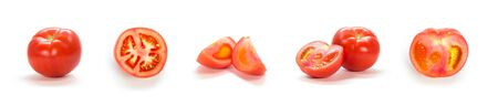 A set of sliced red tomatoes. Close up. Isolated on a white background.