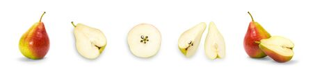 Set of sliced pears. Close up. Isolated on a white background. Фото со стока