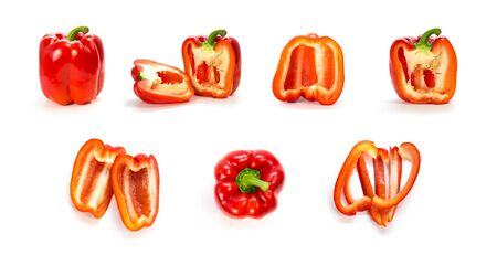 A set of red pepper. Close up. Isolated on a white background.