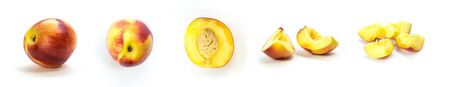 A set of sliced nectarines. Close up. Isolated on a white background.