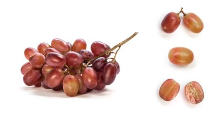 Set of sliced dark grapes. Close up. Isolated on a white background.