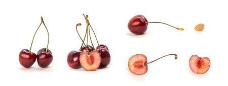 Set of sliced cherries. Close up. Isolated on a white background. Фото со стока