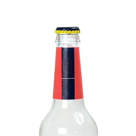 The neck of a beer bottle. Close up. Isolated on a white background.