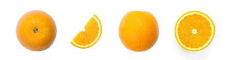 A set of sliced oranges. Close up. Isolated on a white background.