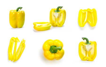 Set of sliced yellow bell peppers. Close up. Isolated on a white background.