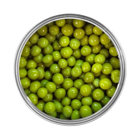 Green peas in a can isolated on  white Stock fotó