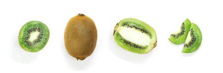 A set of sliced kiwi isolated on white