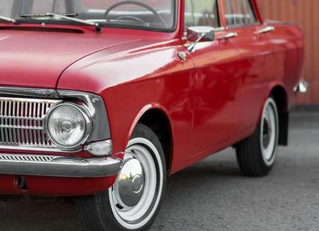 KRASNOYARSK, RUSSIA - May 10, 2020: Red retro car Moskvich 412. Whitewalls. Car of the year 1982.