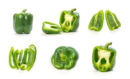 Set of sliced green bell peppers. Close up. Isolated on a white background.