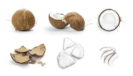 Set of coconut. Close up. Isolated on a white background. Stock fotó