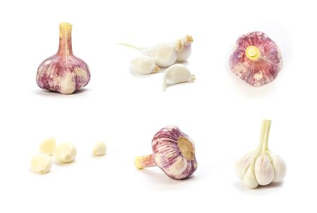 Set of garlic. Close up. Isolated on a white background.