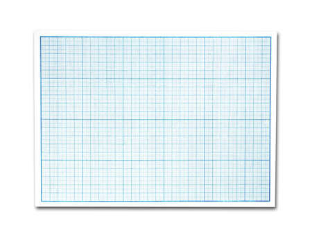 Sheet of scale coordinate drawing paper. Close up. Isolated on a white background.