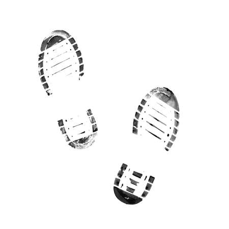 Muddy bootprints. Isolated on white background. Close up.