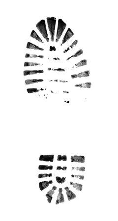 Muddy bootprints. Isolated on white background. Close up. Standard-Bild