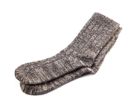 A pair of wool socks. Close up. Isolated on a white background. Archivio Fotografico