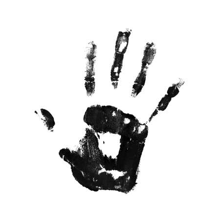 A dirty handprint. Close up. Isolated on a white background.