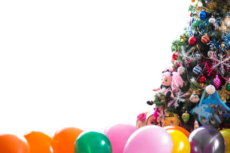 New Year's background for your text. Colorful balloons, green Christmas tree.