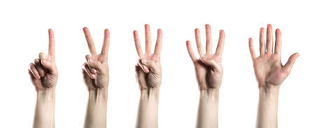 The hand shows one, two, three, four, and five fingers. A collage of hand symbols. Isolated on a white background.