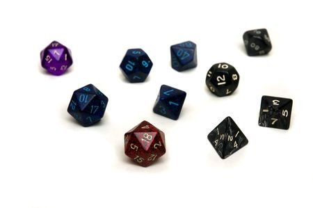 role play: Various types of dice used for role playing games