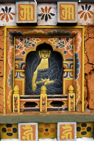 Buddhist Icon carved in wood Stok Fotoğraf
