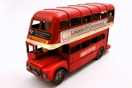 Red double decker bus toys isolated on a white background