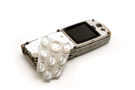 keypad: Broken mobile on a white background