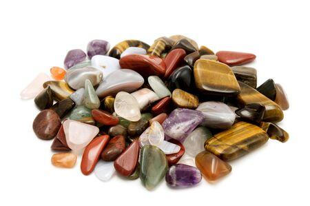 Semiprecious stones on a white background photo