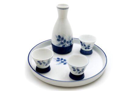 sake: Sake serving set on a white background