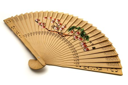 handheld: Chinese hand-held fan on a white background