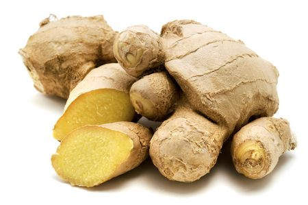 ginger root: Ginger (Zingiber officinale) on a white background Stock Photo